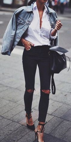 street style. all basics. classic. denim jacket. black skinny jeans. white blouse.