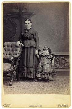 """""""Dwarf Fat Lady"""" Sophia Schultz was a frequenter to Eisenmann's studio. Sometime during the 1880s, she began to grow facial hair, which was reinforced with a little pencil work."""