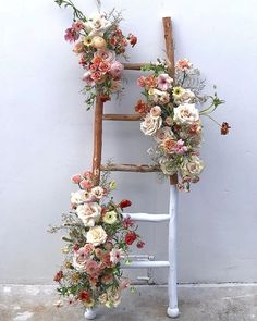 FLORAL LADDER //// Spring is really starting to rage through here, and I am fully in love. Feeling the wilds of it all! ////… FLORAL LADDER //// Spring is really starting to rage through here, and I am fully in love. Feeling the wilds of it all! Floral Wedding Decorations, Flower Decorations, Wedding Flowers, Spring Decorations, Wedding Dresses, Ladder Wedding, Diy Wedding, Wedding Ideas, Wedding Rustic