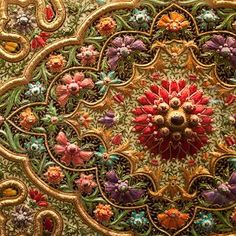 Indian embroidery: Lari and Zari: Fine quality gold thread embroidery found in Bareilly , Benaras ( Varanasi ), Lucknow and Agra . These days silver zari is equally popular. Zari is gold plated silver wire wrapped around a polyester core.