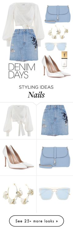 """Denim days"" by carmen-nomme on Polyvore featuring Zimmermann, rag & bone/JEAN, Bogner, Marni, Yves Saint Laurent, For Art's Sake, Gianvito Rossi and denimskirts"