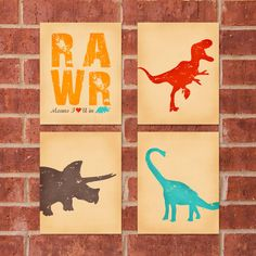 """This set of four 8x10 Dinosaur Prints is sure to bring any room into the Prehistoric era!    This listing includes the entire set at a reduced price of $30! Individual prints also available seperately. Set features: RAWR Means I Love You in Dinosaur, Brown, Red, and Blue Dinosaurs!     Also available in """"girl"""" tones!"""