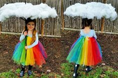 Tutu rainbow Halloween costume —– spray the edge of the 'cloud' silver …. Tutu rainbow Halloween costume —– spray the edge of the 'cloud' silver ….