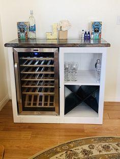 Wine Bar Cabinet, Wine Cabinets, Corner Wine Cabinet, Bar Storage Cabinet, Wine Storage, Diy Home Bar, Bars For Home, Mini Bar At Home, Mini Fridge Bar