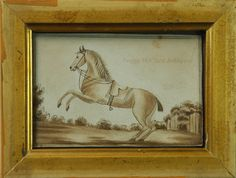 19th Century Sepia Toned Watercolor Painting Miniature of Rearing Horse.