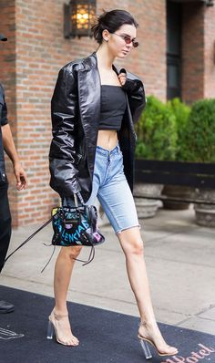 Kendall Jenner: R13 jacket; Re/Done shorts; Yeezy naked shoes