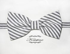 Men's grey and white bow tie  striped cotton bow by KristineBridal, $39.99
