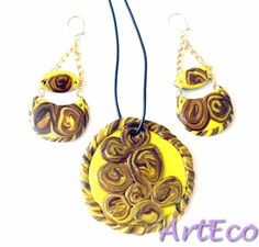 New design - Clay Set - gold plated sterling silver Earrings and Necklace
