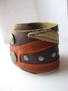 Dani Cuff piece work leather cuff from reclaimed par Xappaland