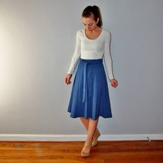 Vintage Denim Chambray A-Line Skirt // High by EleanorsAntiquities