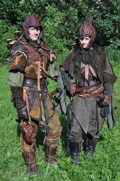 Elven rangers. I like the female ranger's tattered stiched-up shawl.