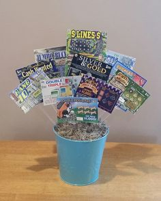 Lottery ticket gift basket I made for my mom's 64th