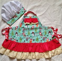 Hey, I found this really awesome Etsy listing at https://www.etsy.com/listing/215635626/girls-apron-with-chef-hat-christmas