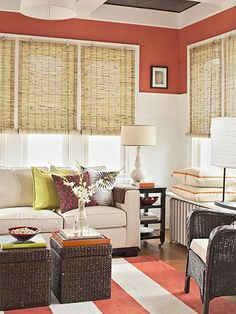 Small spaces--loving poppy on the walls with a tropical feel--bamboo shades--dark wicker--lime and purple. Elegant.