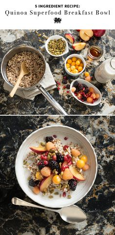 For a healthy breakfast that will keep you feeling full, try powering up your oatmeal with a superfood boost of quinoa for added protein. This simple breakfast recipe requires only five ingredients that you may already have on hand. Top with your favorite mix of seeds and berries, and you've got yourself an antioxidant-rich, delicious and nutritious start to your morning. [Featured Design: Hollinsbrook™]