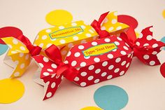 Sweet Dots Favor Box - DIY Printable Wrapped Candy Shaped Box PDF via Piggy Bank Parties Personalize these lil' candy boxes for your next event!