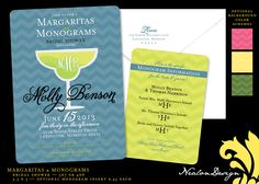 monograms and mimosas invitation | Margaritas & Monograms — Bridal Shower