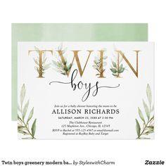 Twin boys greenery modern baby shower invitation Zazzle Invitations, Party Invitations, Sprinkle Invitations, Invitation Ideas, Invitation Cards, Invites, Bobe, Twin Boys, Baby Boys