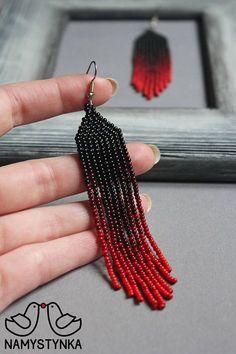 Red fringe beaded earrings Red earrings for women Seed bead