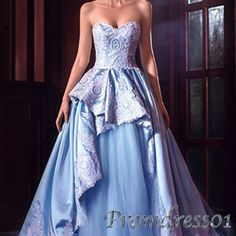 Unqiue design sky blue lace satin long prom dress for teens, ball gown 2016 #coniefox