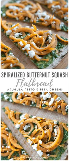 Super easy, healthy, and meatless flatbread recipe made with spiralized butternut squash, arugula pesto, and feta cheese. via /asassyspoon/ Healthy Pizza Recipes, Fresh Salad Recipes, Easy Appetizer Recipes, Dairy Free Recipes, Lunch Recipes, Delicious Recipes, Vegetarian Recipes, Amazing Recipes, Healthy Food
