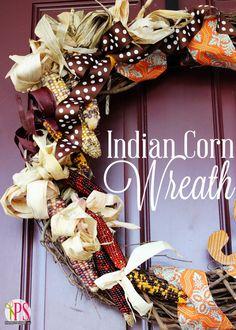 Indian Corn Fall Wreath Tutorial via @Amy Bell {Positively Splendid} #thanksgiving #craft