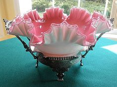 Silverplate Holder With Pink Cased Glass Bride's Bowl/Basket c. 19th Century