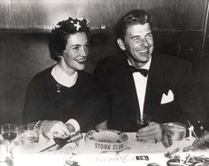"Ronald Reagan and Nancy Reagan at the ""Stork Club"" in New York City during the first year of marriage (1952)."
