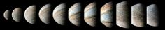 95 Minutes Over Jupiter This sequence of color-enhanced images shows how quickly the viewing geometry changes for NASAs Juno spacecraft as it swoops by Jupiter.