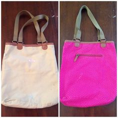 Reversible Tote Adorable reversible tote! Tan on one side pink/white polka dots on the other. Interior or exterior zip pocket depending which side you're carrying. Good preloved condition. Imperfections as seen in photos (mainly on tan side) reflected in price. American Eagle Outfitters Bags Totes