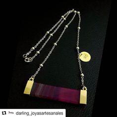 """920b0a72708d  llanotopia on Instagram  """" Repost  darling joyasartesanales ( get repost)  ・・・ Cadena de eslabones con bello dije de Ágata fucsia"""