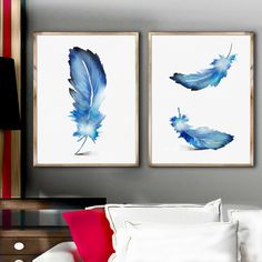 Blue Feather Wall Decor Art Print Feather Decor Room Set 2, Blue Feather Watercolor Painting Feather Decor Room Original Gift Idea