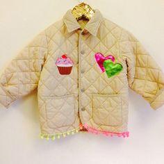 Kids Upcycled 6-7 Years Vintage Customised Padded Jacket Gilet Quilted Hearts Cupcake Unisex