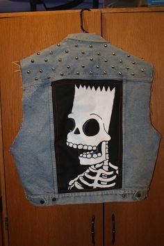 Bart Simpson skeleton patch on studded denim vest by darcimunster, $53.00