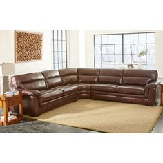 Logan Creek Top Grain Leather Reclining Sectional Home