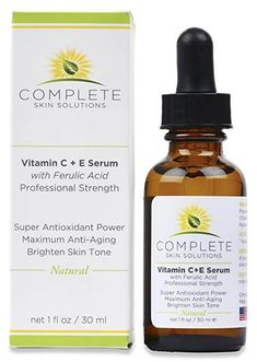 NEW Best Natural Vitamin C + E Serum with Ferulic & Hyaluronic Acid Provides Super Antioxidant Power for Maximum Anti-Aging Benefits Repair Damaged Skin and Stimulates New Collagen By Complete Skin Solutions Vitamin C Face Serum, Best Vitamin C, Natural Vitamin C, Anti Aging Serum, Facial Serum, Moisturizer For Dry Skin, Skin Brightening, Hyaluronic Acid, Vitamin E