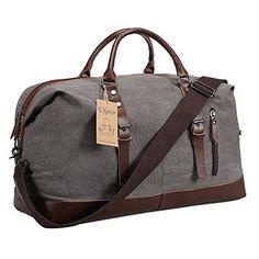 New Ulgoo Ulgoo Travel Duffel Bag Canvas Bag PU Leather Weekend Bag  Overnight Sports Fitness online 721269d53be44