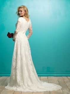 439bedf5ecc Lace Long Sleeve Wedding Gown by Allure Bridals Modest Collection (Back  View)