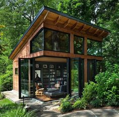 Architect: Bulent Baydar of Harrison Design. Builder: Harris Custom Homes. Tiny House Cabin, Tiny House Living, Tiny House Design, Wood House Design, Modern Tiny House, Tiny Cabins, Cabin Design, Modern Wood House, Diy Design