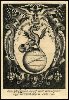 Engraved: dragon on globe inside oval. A dragon on top of a globe within an oval cartouche 1645 por peacay em Flickr