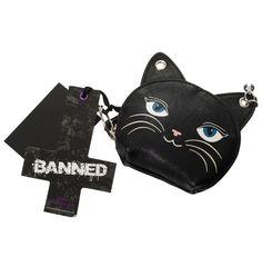 Banned Gothic Emo Punk Meow Feline Black Cat Neko Coin Purse
