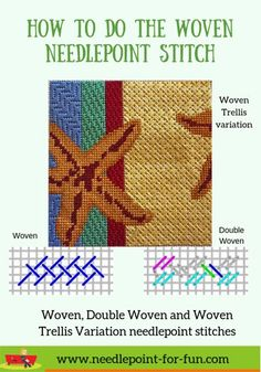 Learn how to do the woven needlepoint stitch as well as the double woven and wov. Learn how to do the woven needlepoint stitch as well as the double woven and woven trellis. Needlepoint Stockings, Needlepoint Pillows, Needlepoint Designs, Needlepoint Stitches, Needlepoint Kits, Needlepoint Canvases, Needlework, Cross Stitches, Tent Stitch
