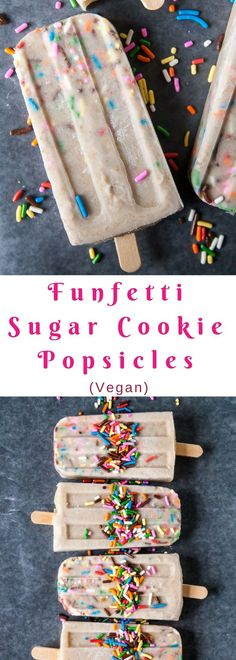 A simple combination of coconut milk and sugar cookie pieces make these a rich and easy vegan popsicle! No bake and vegan.
