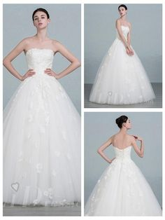 Strapless Lace Appliques Ball Gown Wedding Dress