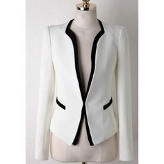 Casual Splicing Contrast Color Long Sleeve Blazer For Women
