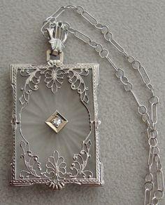 Art Deco 14k white gold filigree and camphor glass and diamond pendant 1920s (hva)