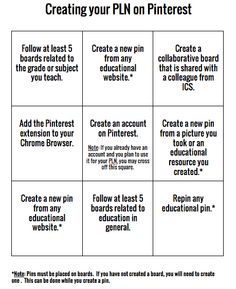 """""""Bingo Card"""" Activity for creating a PLN using Pinterest - Use this to begin creating your Professional Learning Network!"""