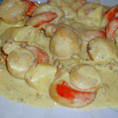 noix de saint-jacques à la crème au curry