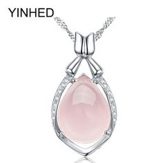 Luxury Natural Rose Stone Pendant Necklace 925 Sterling Silver Jewelry Crystal Powder Water Drop Necklace for Women Gift ZN056 (32396795045)  SEE MORE  #SuperDeals
