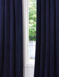 Signature Federal Blue Blackout Velvet Curtains & Drapes | Half Price Drapes - New curtains for my living room, blackout & thermal. SCORE.